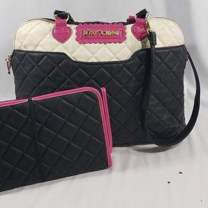Betsy Johnson Black Heart Crossbody Travel Bag